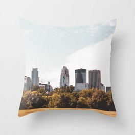 Minneapolis Minnesota Skyline Fall Colors Throw Pillow