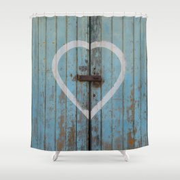 Rustic Blue Heart Shower Curtain