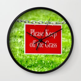 PLEASE KEEP OFF THE GRASS Wall Clock