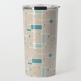 Intersecting Lines in Tan, Turquoise and Sea Foam Travel Mug