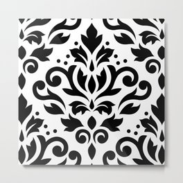 Scroll Damask Large Pattern Black on White Metal Print