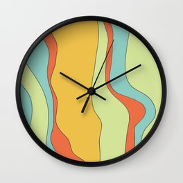 Curly lines of colour pattern Wall Clock