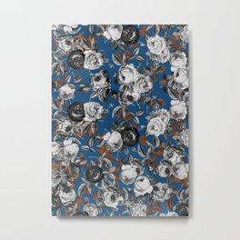 Black white roses copper classic blue Metal Print
