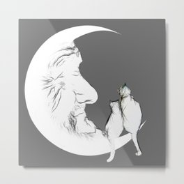 Moon and cats Metal Print