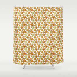 Illustrated Oranges and Limes Shower Curtain