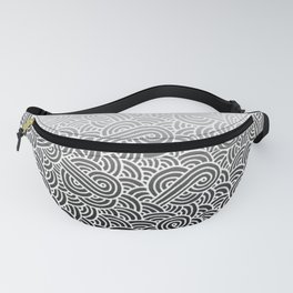 Faded black and white swirls doodles Fanny Pack