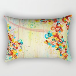 SUMMER IN BLOOM - Beautiful Abstract Acrylic Painting Vibrant Rainbow Floral Nature Theme  Rectangular Pillow