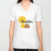 pumpkin V-neck T-shirts featuring pumpkin by gasponce