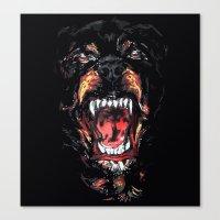 rottweiler Canvas Prints featuring Rottweiler by Rassva