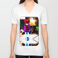 shopping V-neck T-shirts featuring Window Shopping by Khana's Web