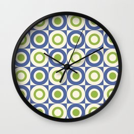 Mid Century Square and Circle Pattern 541 Blue and Green Wall Clock