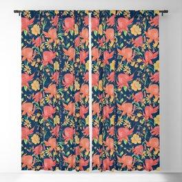 Australian Florals on Blue Blackout Curtain