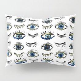 Evil Eyes Blue Yellow Lucky Charm Symbol Pillow Sham