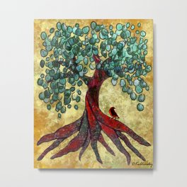 Red Oak Tree with Birdie Metal Print