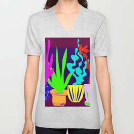 Simple Shapes of Cactus in Pots Colorful Digital Drawing Unisex V-Neck