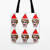 tom selleck Tote Bags featuring Merry Christmas Tom you by Mary Naylor