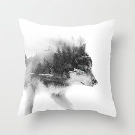 Wolf Stalking Throw Pillow