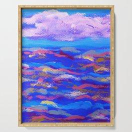 Blue Ocean Pink Waves Serving Tray