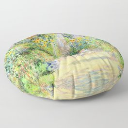 Monets Garden at Vetheuil Floor Pillow