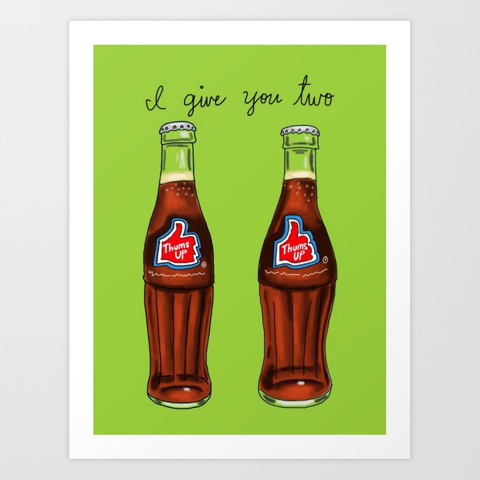 i give you two thums up art print by shebanimal society6