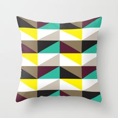Yellow, purple, turquoise triangle pattern Throw Pillow