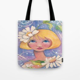 Whimiscal Enchanced Girl with Daisey Tote Bag