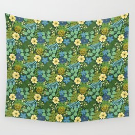 Tropical Blue and Yellow Floral Wall Tapestry