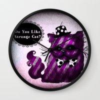 cheshire cat Wall Clocks featuring Cheshire Cat by AKIKO