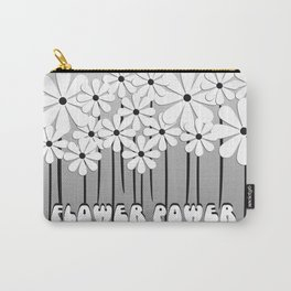 Flower Power in Black and White Carry-All Pouch
