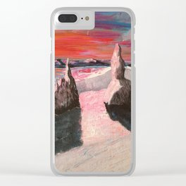 Mountain sunset, Old man of Storr Clear iPhone Case