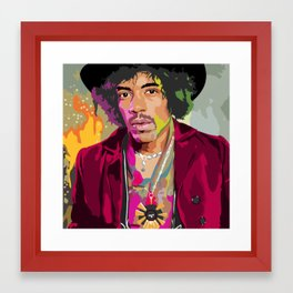 Jimi Hendrix Illustration Framed Art Print