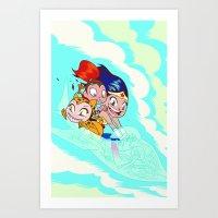 teen titans Art Prints featuring Teen Titans Go Comic Book Mini Character Print by NOTCHCOMICS