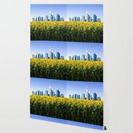 Frankfurt Germany Skyline Sunflower Field Wallpaper