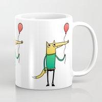 baloon Mugs featuring Fox & Baloon by Pedro Vilas Boas