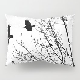 Black and White Graphic Birds and Tree Branches Pillow Sham