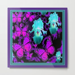 Purple Butterflies & Teal-aqua Iris Metal Print