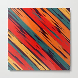 African Rustic Style, Purple stripes rustic seamless pattern Metal Print