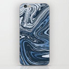 Navy Blue Liquid Marble iPhone Skin