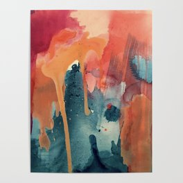 Pour Some Sugar on Me: a colorful mixed media abstract in pinks blues orange and purple Poster