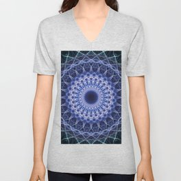 Blue cold mandala Unisex V-Neck
