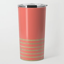 Peach and Gold Stripes Travel Mug