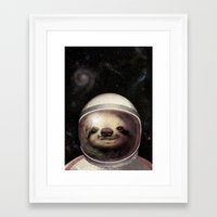 sloth Framed Art Prints featuring Space Sloth  by Eric Fan