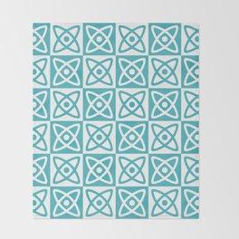 Mid Century Modern Atomic Check 140 Turquoise Throw Blanket