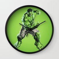 hulk Wall Clocks featuring HULK by Hands in the Sky