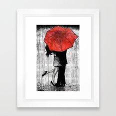 red umbrella rendezvous Framed Art Print