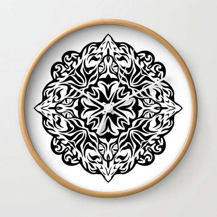b5d61192136c3 Polynesian style tattoo mandala Wall Clock by annaki | Society6