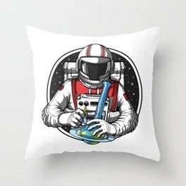 Astronaut Hits Weed Bong Throw Pillow