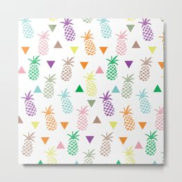 Multi Colored Pineapples and Triangles Metal Print