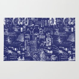 Da Vinci's Sketchbook // Dark Blue Rug