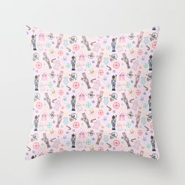 Nutcracker Toy Soldiers, Snowmen, Gingerbread Men & Houses, Stars & Candy Throw Pillow
